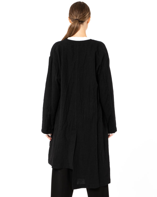 Y'S - O-Collarless Asymmetrical Coat | Luxury Designer Fashion | tntfashion.ca