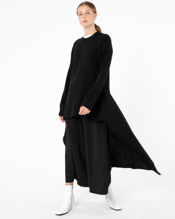 Y'S - Washable Wool Bottom Flare Pullover | Luxury Designer Fashion | tntfashion.ca