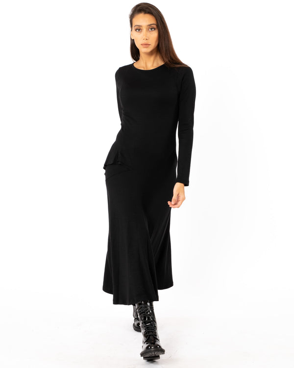 Y'S - U-R Cut Off Long Sleeve Dress | Luxury Designer Fashion | tntfashion.ca