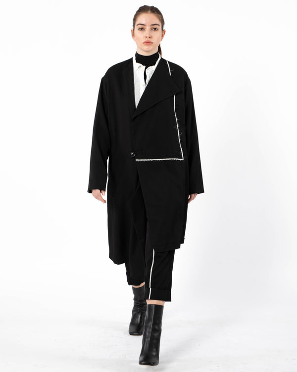Y'S O-Asymmetrical No Collar Coat | newtntfashion.