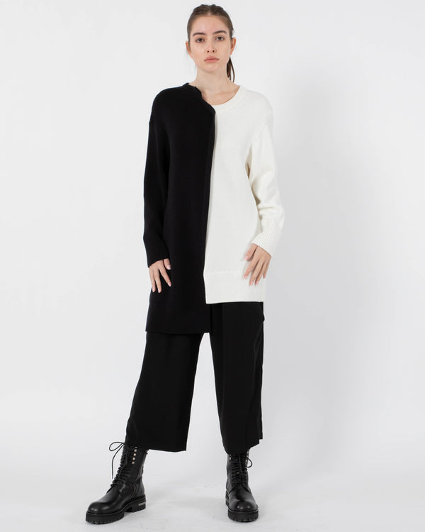Y'S - Duel Coloured Long Sleeve Top | Luxury Designer Fashion | tntfashion.ca