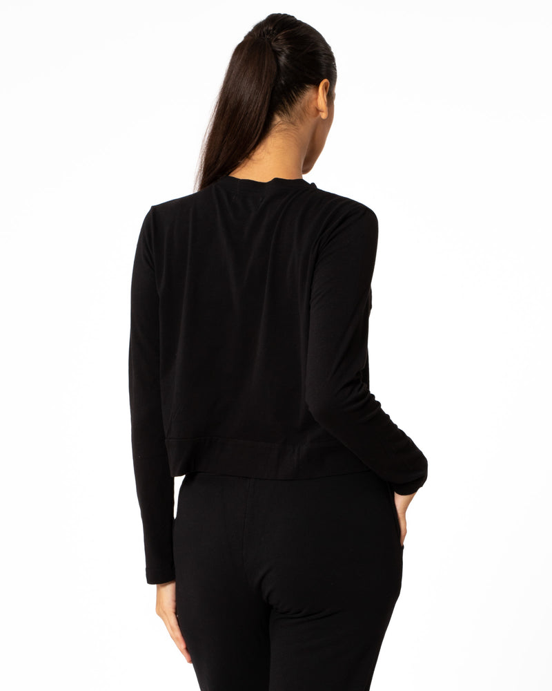 VELVET - Sueded Cropped Long Sleeve Top | Luxury Designer Fashion | tntfashion.ca