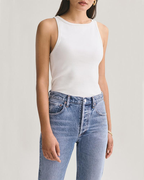AGOLDE Rib High Neck Tank | newtntfashion.