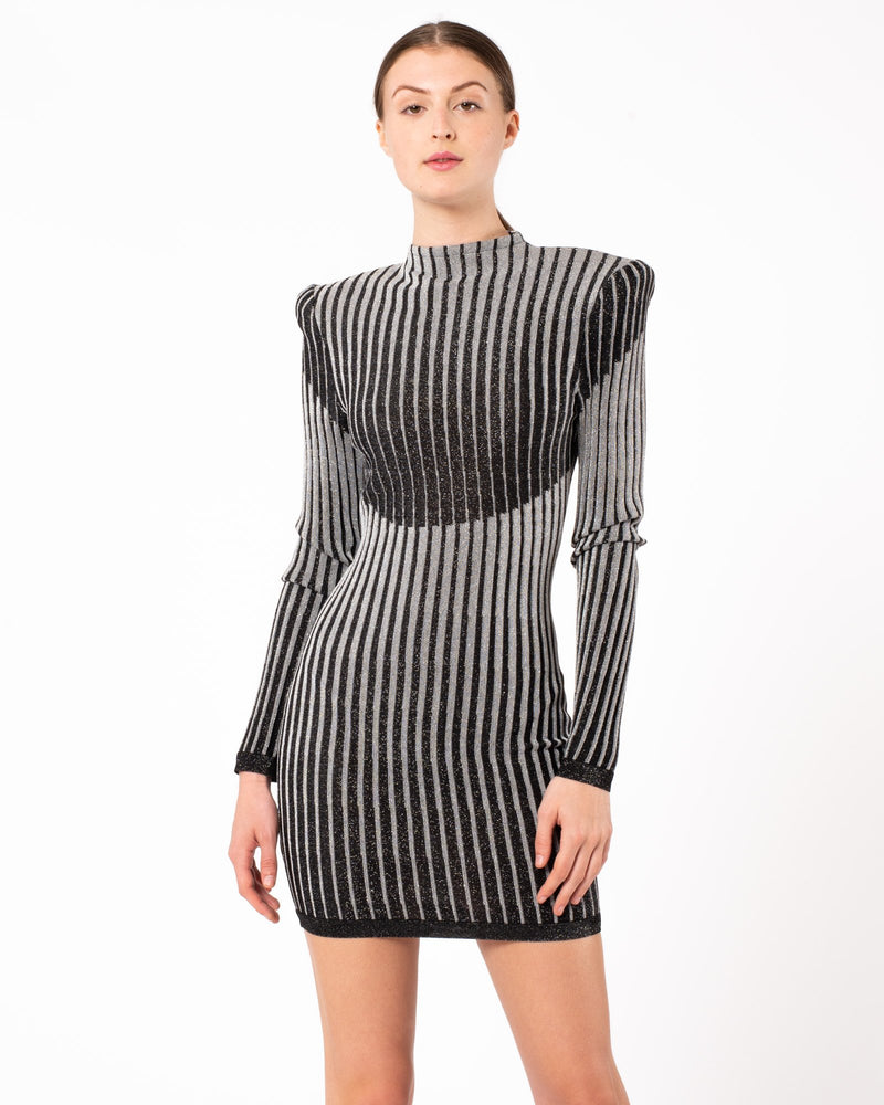 BALMAIN Long Sleeve High Neck Pleated Dress | newtntfashion.