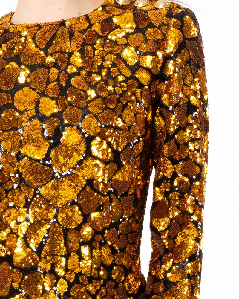 BALMAIN Sequin Giraffe Dress | newtntfashion.