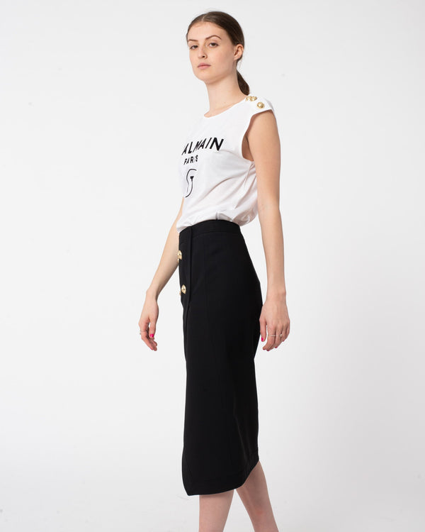 BALMAIN Slit Midi Skirt | newtntfashion.