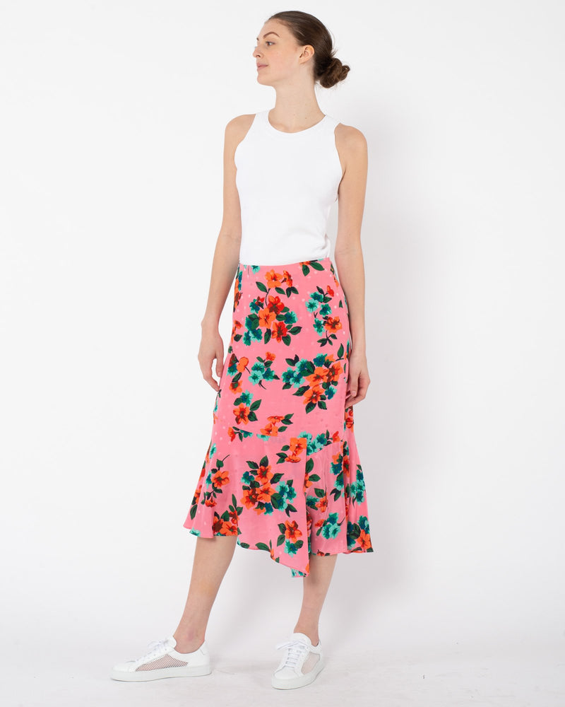 Floral Polka Dot Silk Asymmetrical Skirt