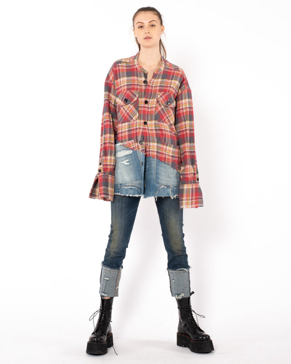 GREG LAUREN - 50/50 Flannel Top | Luxury Designer Fashion | tntfashion.ca