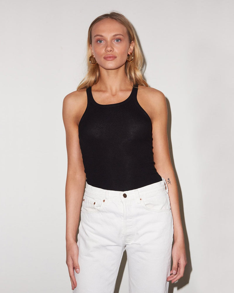 LnA - Ribbed Skinny Racer Tank Top | Luxury Designer Fashion | tntfashion.ca