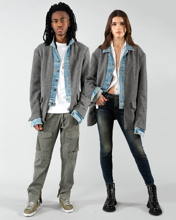 GREG LAUREN - Denim Herringbone Blazer | Luxury Designer Fashion | tntfashion.ca