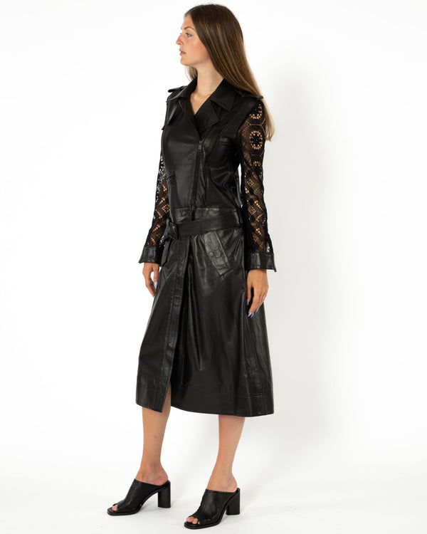 OLIVIA PALERMO - Lace&Leather Convertible Moto Jacket | Luxury Designer Fashion | tntfashion.ca