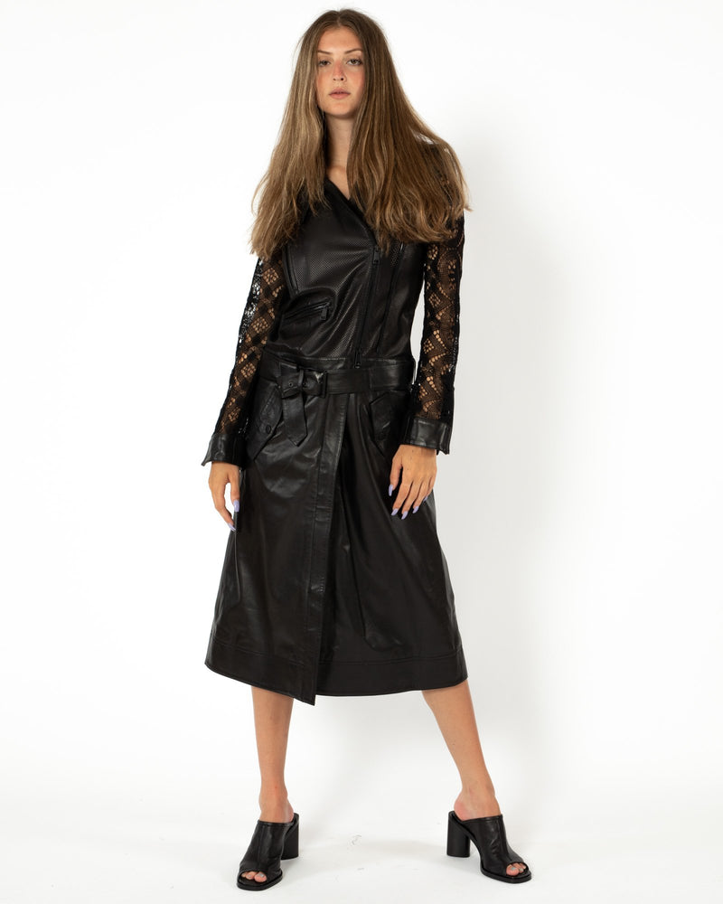 Lace&Leather Convertible Moto Jacket