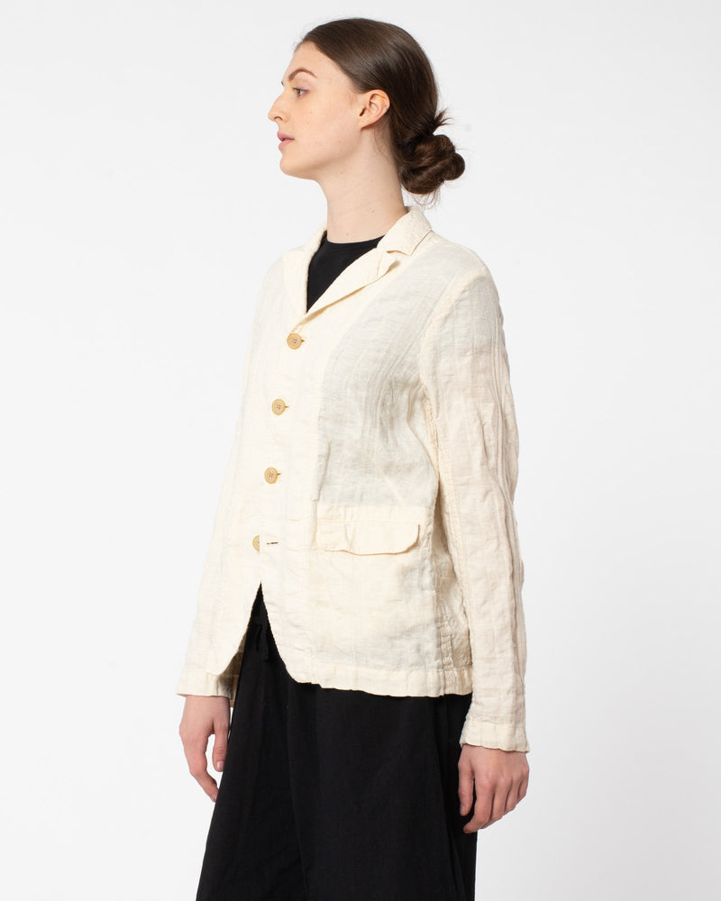 PAS DE CALAIS - Texture Four Button Linen Jacket | Luxury Designer Fashion | tntfashion.ca