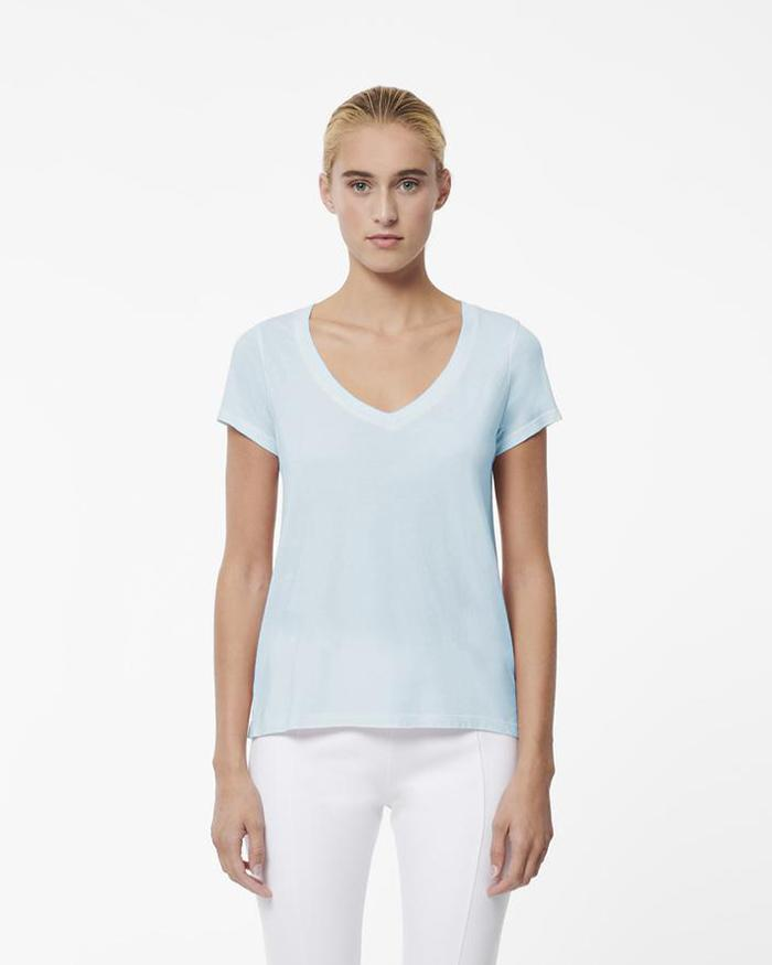 PATRICK ASSARAF Short Sleeve Spray Wash V-Neck T-Shirt | newtntfashion.
