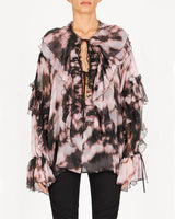 REDEMPTION Ruffled Tie-Dye Print Blouse | newtntfashion.