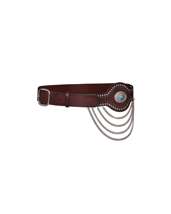 REDEMPTION Western Belt with Studs and Chains | newtntfashion.