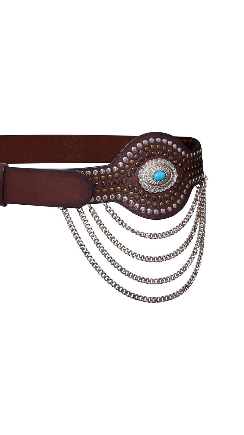 Western Belt with Studs and Chains