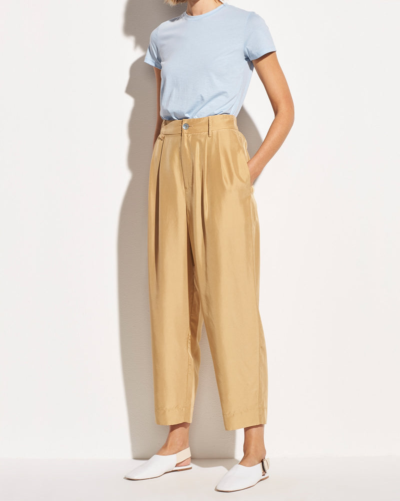 Cropped Silk Habotai Trouser