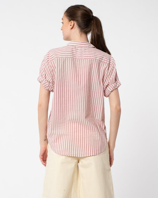 XIRENA Channing Short Sleeve Button Down Stripe Shirt | newtntfashion.