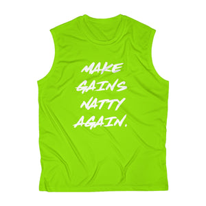 Men's Sleeveless Make Gains Natty Again Front Only