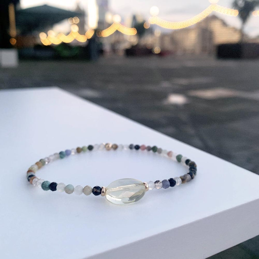 Citrine, precious stone and gold 9k bracelet