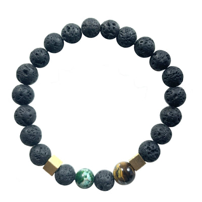 Lava stone bracelet & Regalite, Tiger eye