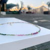 Watermelon Tourmaline & Ruby gold disks necklace
