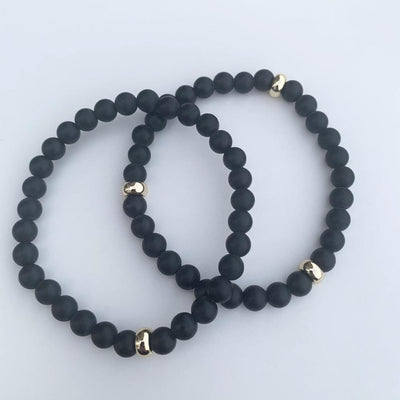 Black Onyx Bracelet Gold Disk 6mm