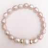 Pink and white pearl bracelet Gold plated 18k