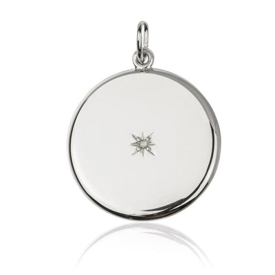 Round pendant sterling silver Sliding Locket