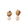 Gold Shell earrings rose quartz
