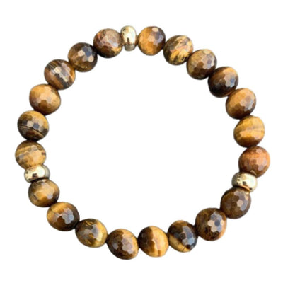 Tiger Eye Bracelet <br> Gold Disk
