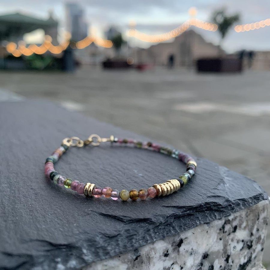 Watermelon tourmaline bracelet disks