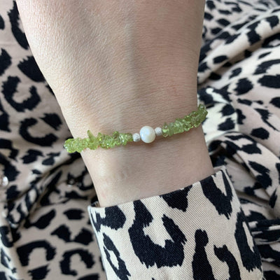 Sterling silver bracelet Peridot and Pearl