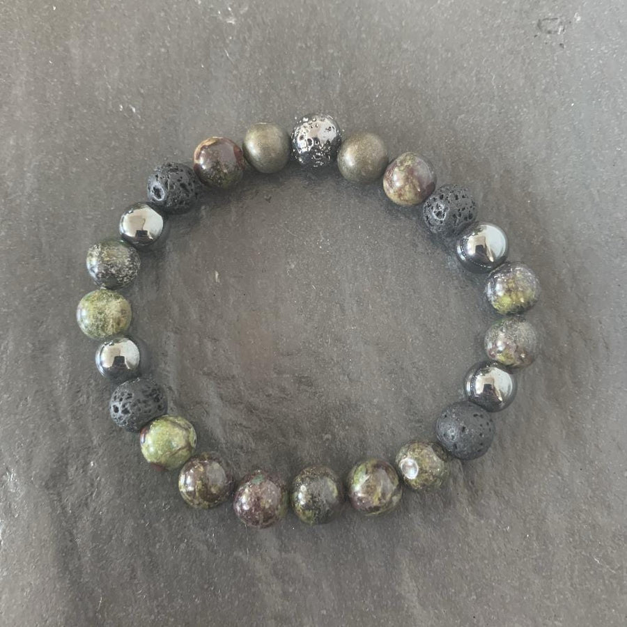 Dragon blood bracelet, Lava stone and Lava stone plated
