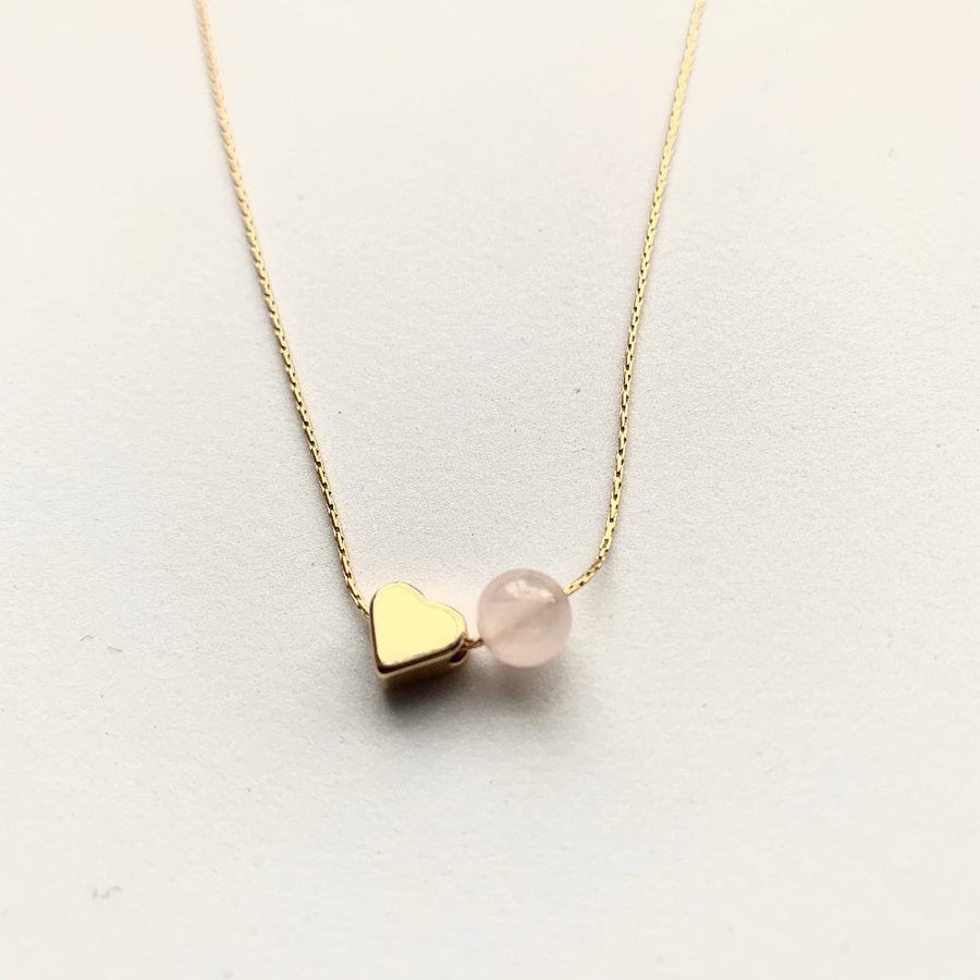 Love mini heart necklace rose quartz