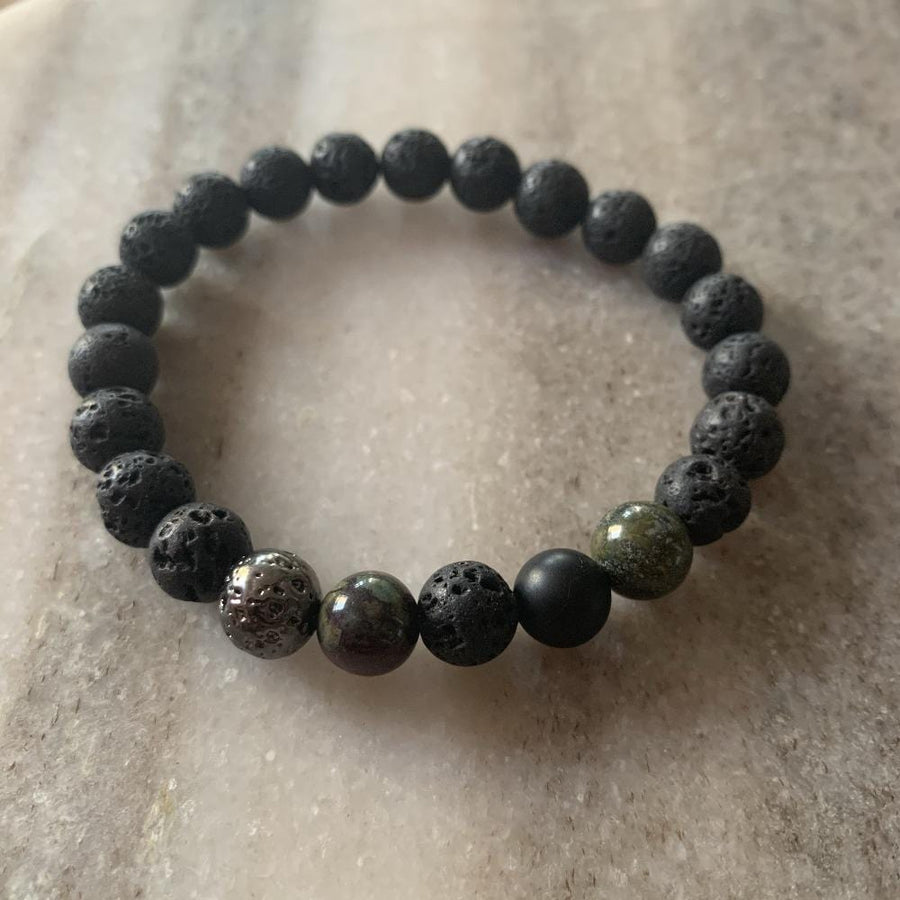 Lava stone bracelet, lava stone plated, black onyx, dragon blood