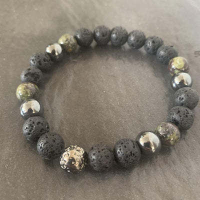 Lava stone bracelet, Dragon blood and Lava stone plated