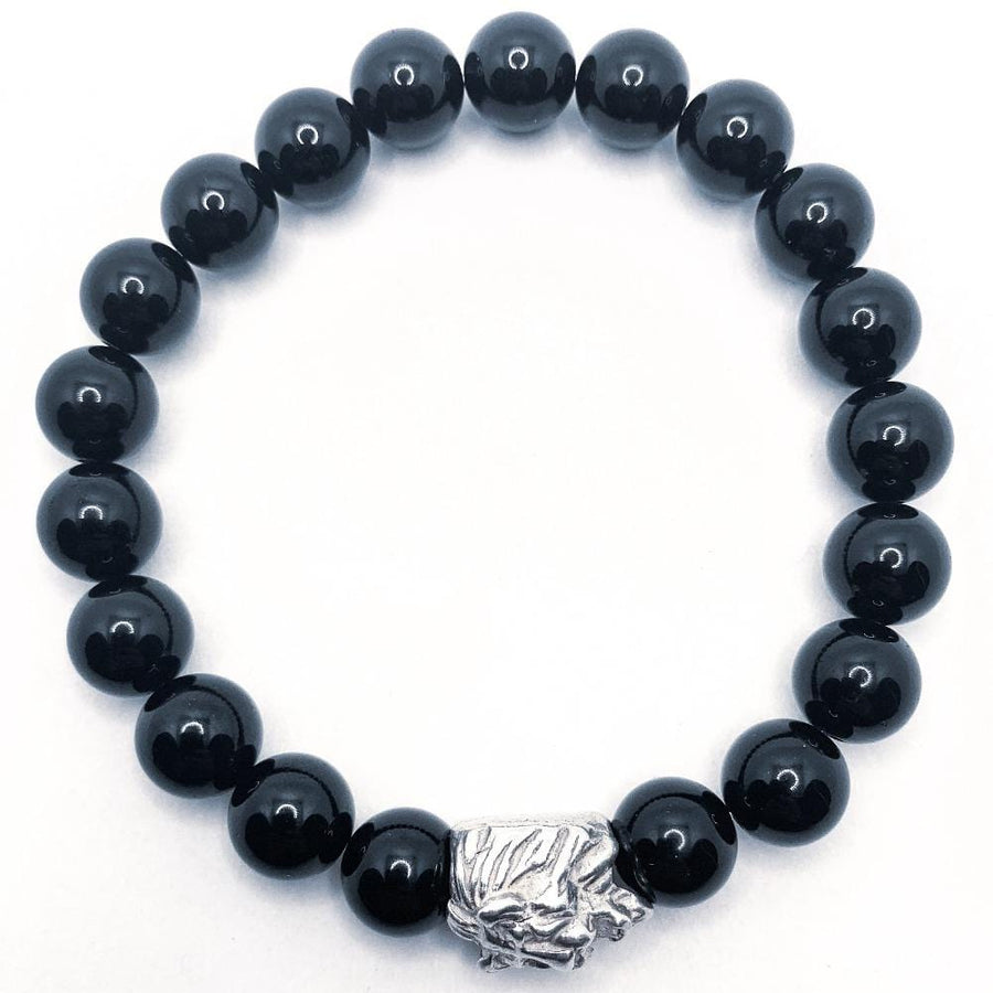 Black tourmaline bracelet with lion