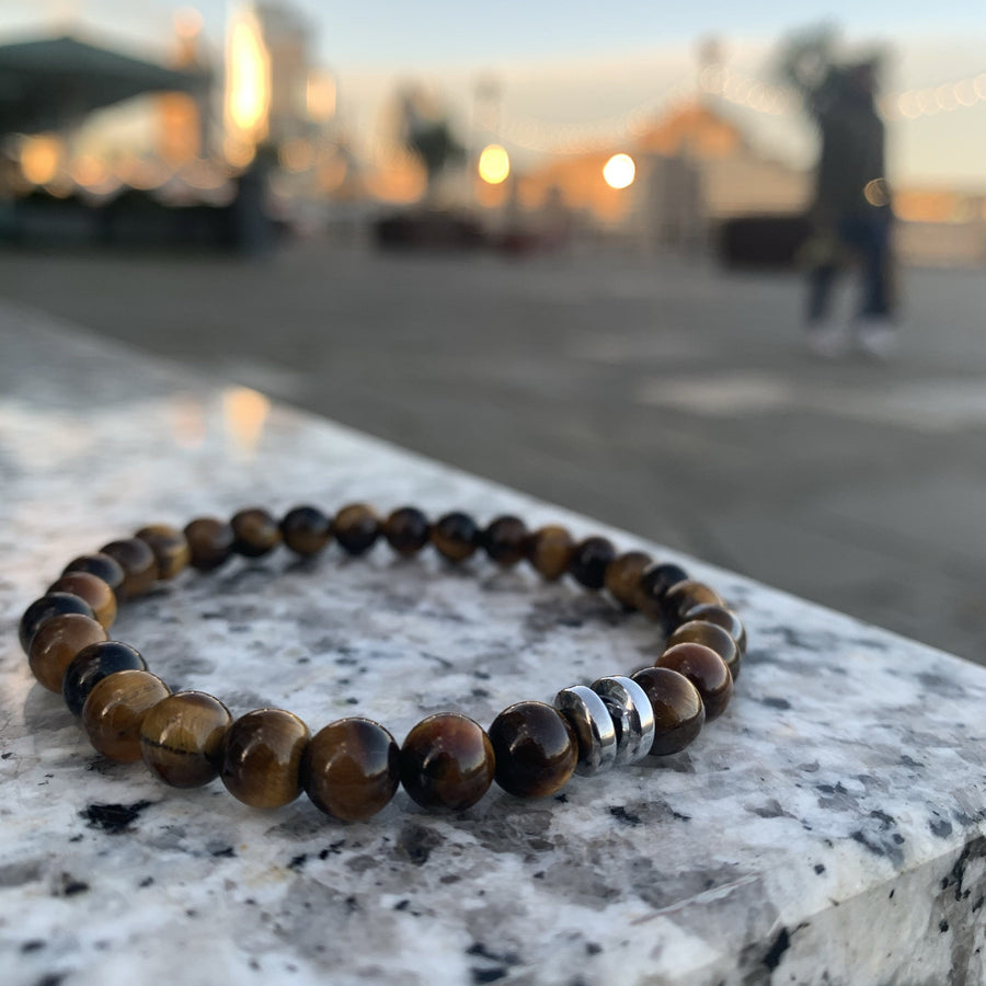 Tiger eye bracelet gunmetal disks