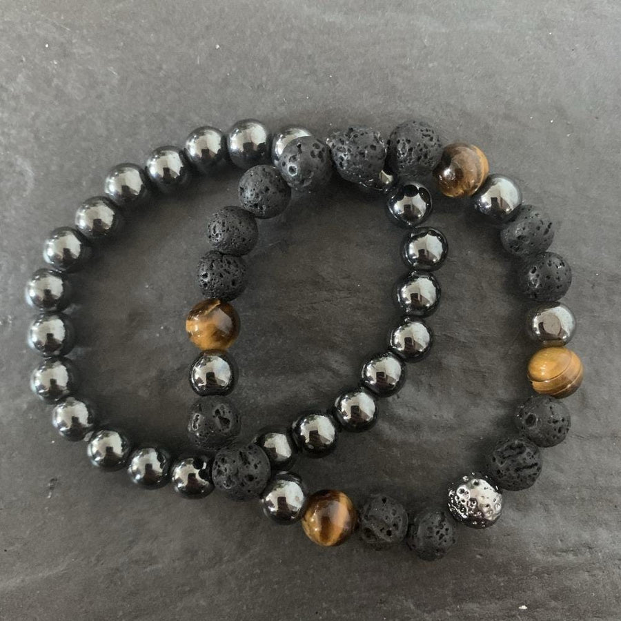 Set : Hematite bracelet, Lava stone, Tiger eye and lava stone plated bracelet