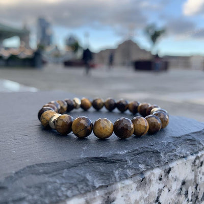 Tiger Eye Bracelet Gold Disk