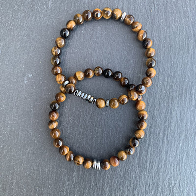 Tiger eye bracelet gunmetal duo disks