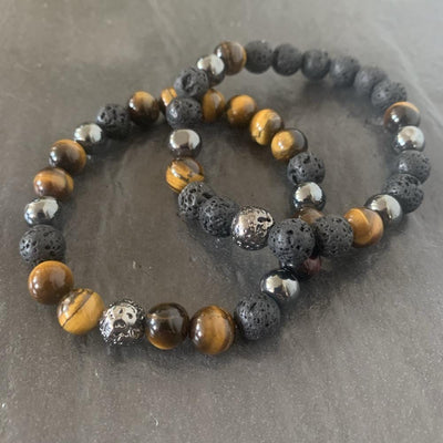 Tiger eye bracelet, lava stone and lava stone plated