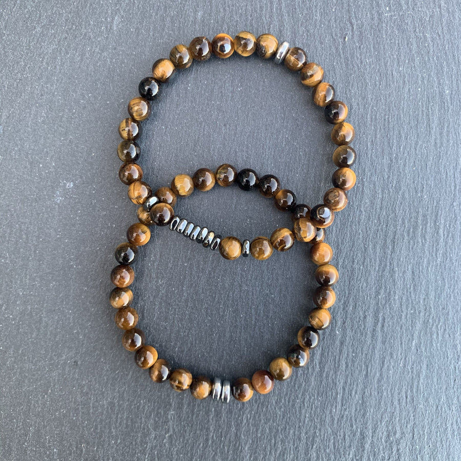 Tiger eye bracelet gunmetal square disks