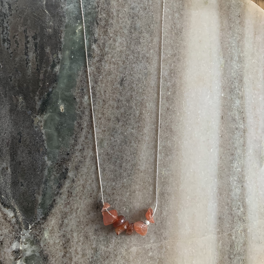 Sterling silver necklace carnelian