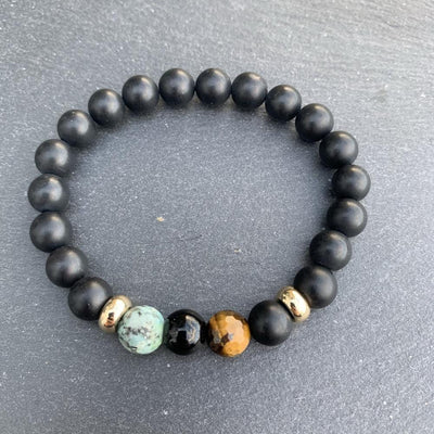 Black onyx, Turquoise & Tiger Eye Bracelet Gold Disk