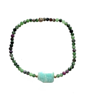 Mi Cielo London Bracelet Gold bracelet Ruby-ziosite & Amazonite
