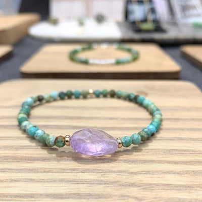 Turquoise and Amethyst bracelet 9k gold