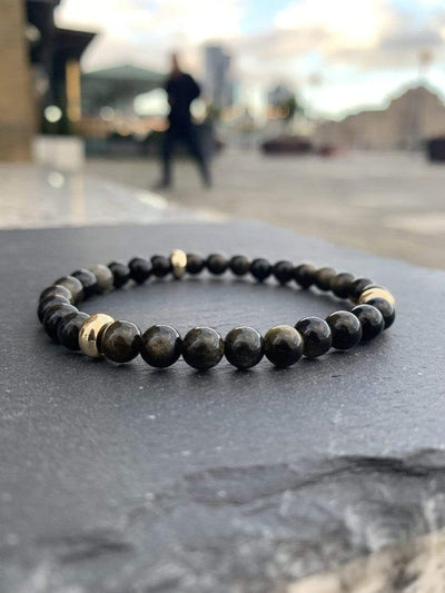 Gold Sheen Obsidian Bracelet Gold Disks